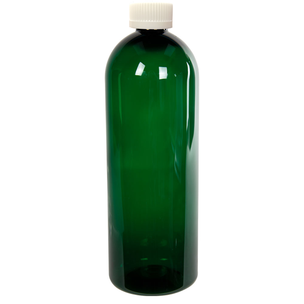 32 oz. Dark Green PET Cosmo Round Bottle with CRC 28/410 Cap with F217 Liner