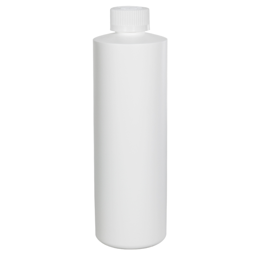 16 oz. White HDPE Cylindrical Sample Bottle with 28/410 CRC Cap