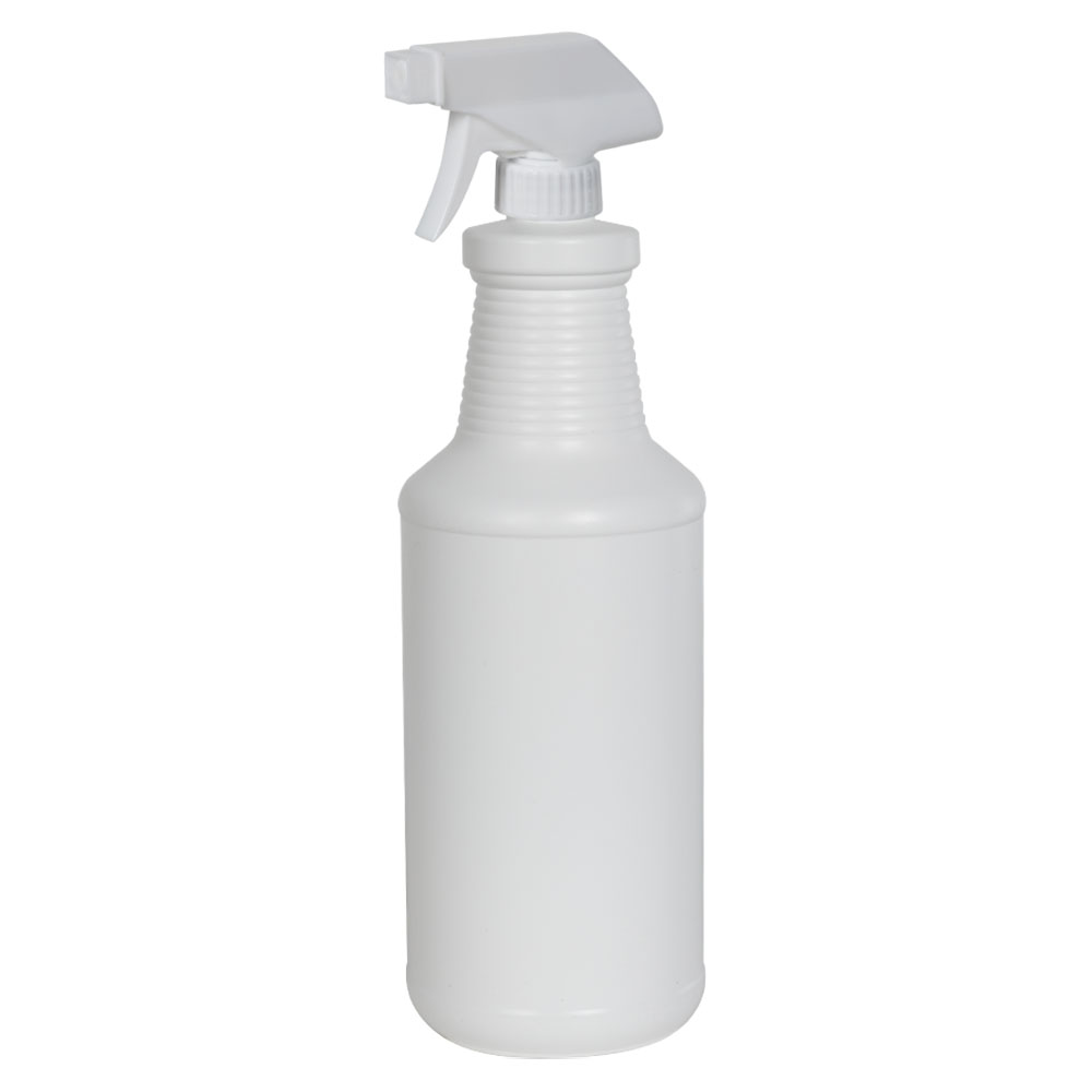 32 oz. White HDPE Carafe Bottle with 28/400 Sprayer