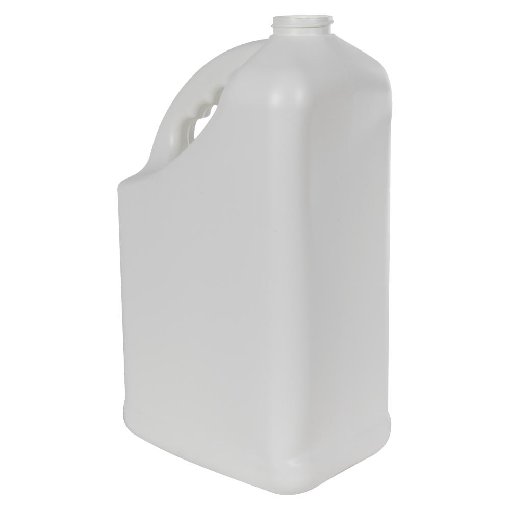 128 oz. White HDPE PCR Slant Handle Jug with 38/400 Neck (Cap Sold Separately)