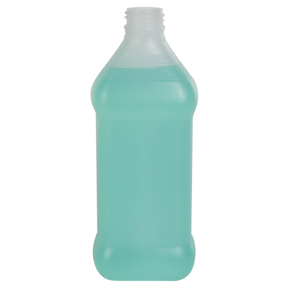 16 oz. Natural HDPE Oval Rubbing Alcohol Bottle with 28/410 Neck (Cap Sold Separately)