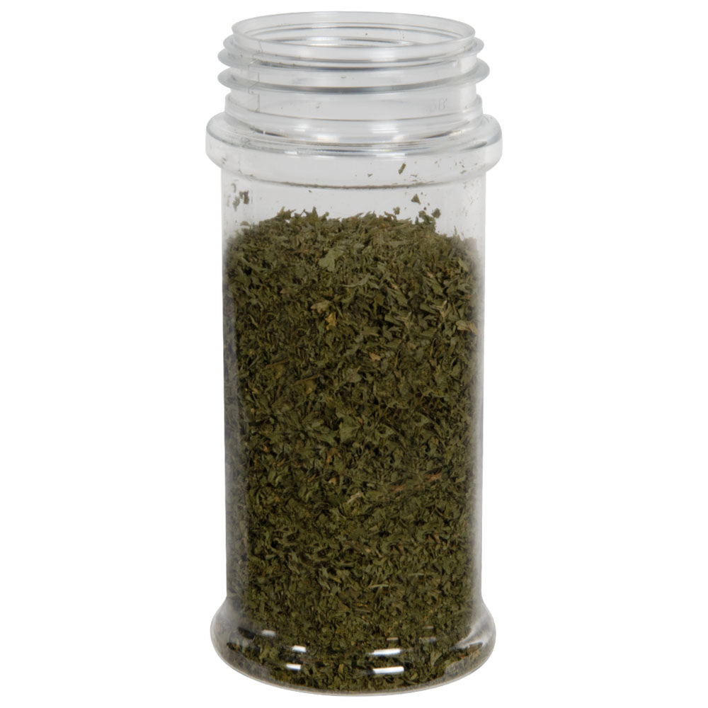 8.4 oz. Clear PET Round Spice Jar with 53/485 Neck (Cap Sold Separately)