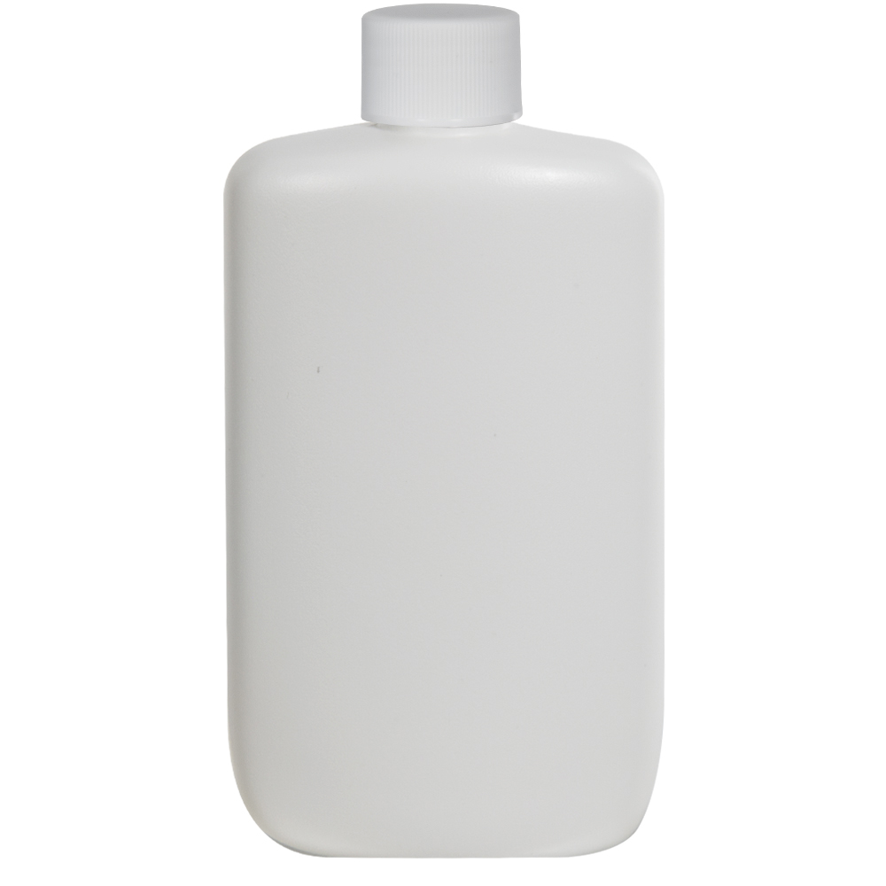 8 oz. White HDPE Oval Bottle with 24/410 Plain Cap with F217 Liner