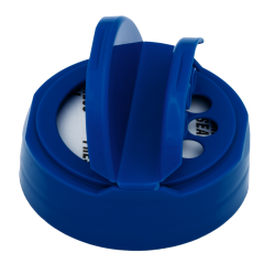 48/485 Blue 3 Hole Dual Door Spice Cap with Heat Induction Liner for PET Jars
