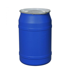 """55 Gallon Blue Straight Sided Open Head Poly Drum with 2"""" & 3/4"""" Bungs Lid & Metal Lever-Locking Ring"""