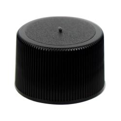 24/410 Black Polypropylene Unlined Ribbed Cap