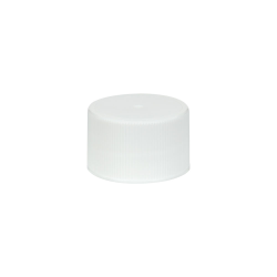28/410 White Polypropylene Unlined Ribbed Cap
