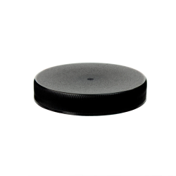 63/400 Black Polypropylene Unlined Ribbed Cap