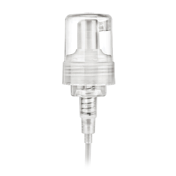 "43mm Natural Foamer Pump with 6-1/4"" Dip Tube, .7cc Output & Clear Over-Cap"