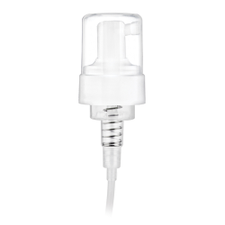 "43mm White Foamer Pump with5-5/16"" Dip Tube, .7cc Output & Clear Over-Cap"
