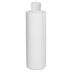 16 oz. White HDPE Cylindrical Sample Bottle with 28/410 Flip-Top Cap