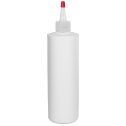16 oz. White HDPE Cylindrical Sample Bottle with 28/410 Natural Yorker Cap