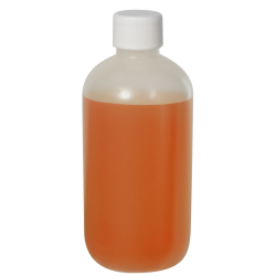 8 oz. LDPE Boston Round Bottle with 24/410 Plain Cap with F217 Liner