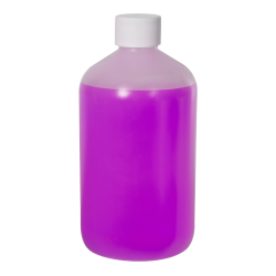 16 oz. LDPE Boston Round Bottle with 28/410 Plain Cap with F217 Liner