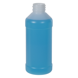 8 oz. Natural HDPE Modern Round Bottle with 28/410 Neck (Cap Sold Separately)