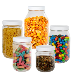 Clear PET Round Jars with Caps