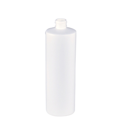 16 oz. White Cylinder Bottle with 24/410 Neck (Cap Sold Separately)