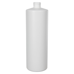 32 oz. White Cylinder Bottle with 28/410 Neck (Cap Sold Separately)