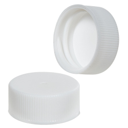 24/400 White Polypropylene Ribbed Cap with F217 Liner