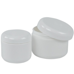 White Dome Double Wall Jars & Caps