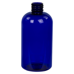 8 oz. Cobalt Blue PET Squat Boston Round Bottle with 24/410 Neck (Caps Sold Separately)