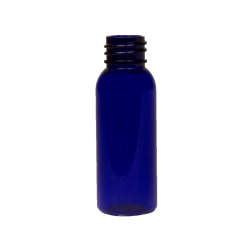 1 oz. Cobalt Blue PET Cosmo Round Bottle with 20/410 Neck (Cap Sold Separately)