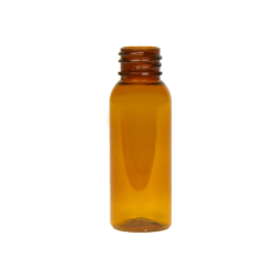 1 oz. Clarified Amber PET Cosmo Round Bottle with 20/410 Neck (Cap Sold Separately)