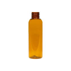 2 oz. Clarified Amber PET Cosmo Round Bottle with 20/410 Neck (Cap Sold Separately)