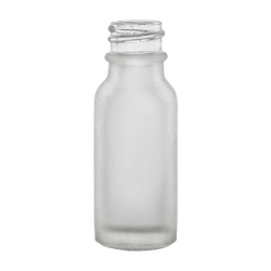 1/2 oz. Clear Frosted Glass Boston Round Bottle with 18/400 Neck (Cap Sold Separately)