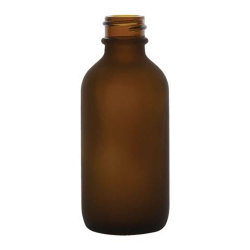 2 oz. Amber Frosted Glass Boston Round Bottle with 20/400 Neck  (Cap Sold Separately)