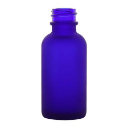 1 oz. Cobalt Frosted Glass Boston Round Bottle with 20/400 Neck (Cap Sold Separately)