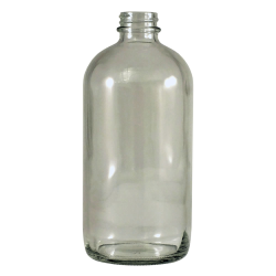 16 oz. Clear Glass Boston Round Bottle with 28/400 Neck (Cap sold separately)
