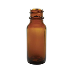 1/2 oz. Amber Glass Boston Round Bottle with 18/400 Neck (Cap Sold Separately)
