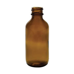 2 oz. Amber Glass Boston Round Bottle with 20/400 Neck (Cap sold separately)