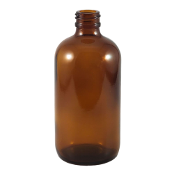 8 oz. Amber Glass Boston Round Bottle with 24/400 Neck (Cap sold separately)