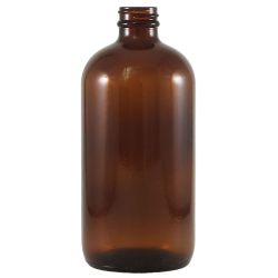 16 oz. Amber Glass Boston Round Bottle with 28/400 Neck (Cap Sold Separately)