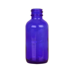 2 oz. Cobalt Glass Boston Round Bottle with 20/400 Neck (Cap sold separately)