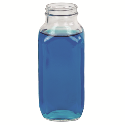 16 oz. Wide Mouth French Square Glass Bottle with 48/400 Neck  (Cap Sold Separately)