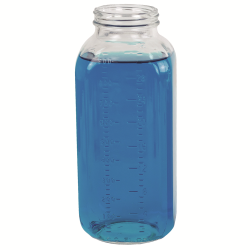 32 oz. Wide Mouth French Square Glass Bottle with 58/400 Neck & Graduations  (Cap Sold Separately)
