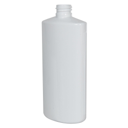 16 oz. White PVC Oval Bottle with 28/410 Neck  (Cap Sold Separately)
