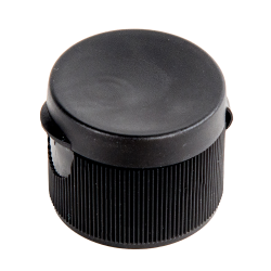 "28/410 Black Ribbed Snap-Top Cap with .25"" Orifice"