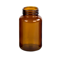 200mL Glass Wide Mouth Amber Packer with 45/400 Neck  (Cap Sold Separately)