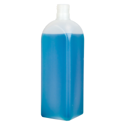16 oz. HDPE Beveled Square Natural Bottle with 24/415 Neck  (Cap Sold Separately)
