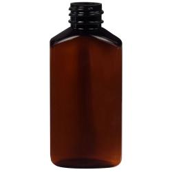 2 oz. Light Amber PET Drug Oblong Bottle with 20/410 Neck  (Cap Sold Separately)