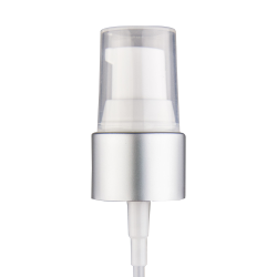 "20/410 Brushed Silver/White Smooth Treatment Pump - 4"" Dip Tube"