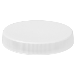 63/400 White Polypropylene Unlined Ribbed Cap