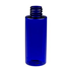2 oz. Cobalt Blue PET Cylinder Bottle with 20/410 Neck  (Cap Sold Separately)
