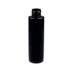 4 oz. Black PET Cylinder Bottle with 24/410 Neck  (Cap Sold Separately)
