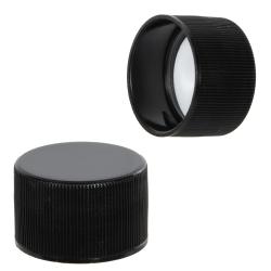 28/410 Black Polypropylene Cap with Pressure Sensitive Liner