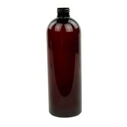 16 oz. Light Amber PET Cosmo Round Bottle with 24/410 Neck (Cap Sold Separately)